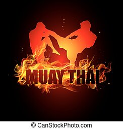 Thai boxing is kicking postures with muay thai fire vector