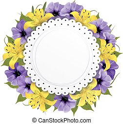 Greeting Card With Beautiful Flowers. Vector.