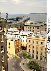 Urban landscape of Quebec city Old port in cloudy day