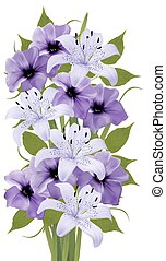Holiday background with colorful beautiful flowers. Vector illustration