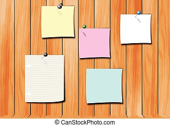 note pad on wood wall vector - note pad colorful on wood...