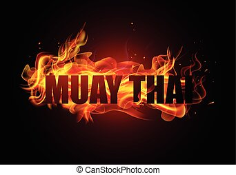 Thai kickboxing Muay Thai typography with fire