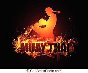 Thai kick boxing in posture boxing - Thai kick boxing in hit...
