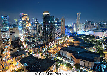 Makati skyline (Manila - Philippines) - Eleveted, night view...