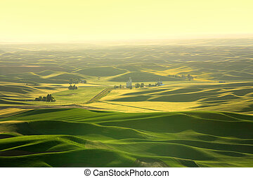 Scenic landscape from Steptoe butte at Palouse in Washington...