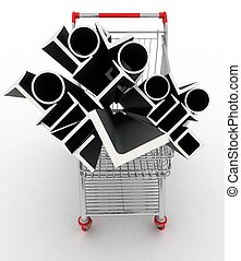 Metal profiles in your shopping cart. Conception of trading....