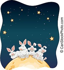 Rabbits sitting on the surface of the moon