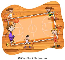 Basketball court with players practicing