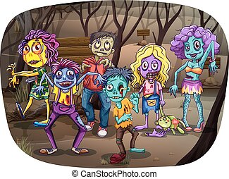 Zombies - Group of zombies walking dead in the graveyard