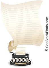 Typewriter - Vintage typewriter with blank sheet of line...