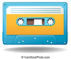 Tape cassette - Blue tape cassette in old-fashioned design