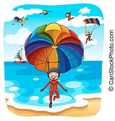 Parachuting - People parachuting over the ocean