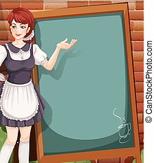 Waitress - Cute waitress with blank chalckboard on the wall