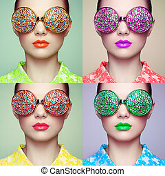 Portrait of beautiful young woman with colored glasses....