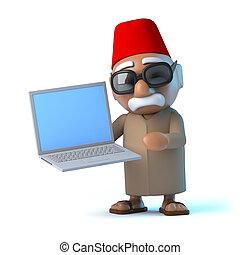 nouveau, ordinateur portable, a, marocain,  3D
