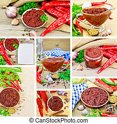 Adjika with spices set - Set photos of Tabasco adjika in a...