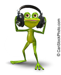 Frog with Headphones - Illustration of a cartoon frog in...