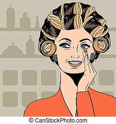 Woman with curlers in their hair