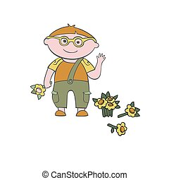 Vector boy with a flower