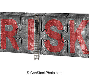 Man climbing ladder puzzles concrete wall red risk word -...
