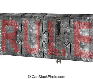 Man climbing ladder puzzles concrete wall red rule word -...