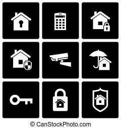 Vector black home security icon set