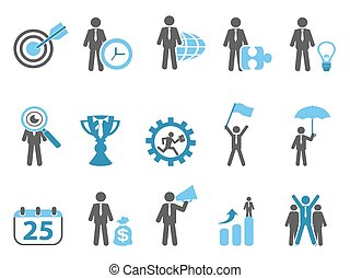 business metaphor icons set blue series