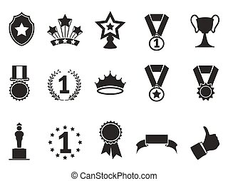black award icons set