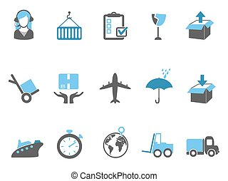 logistics and shipping icons set blue series