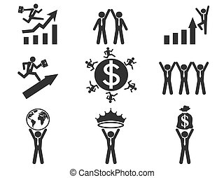 successful businessman pictogram icons set
