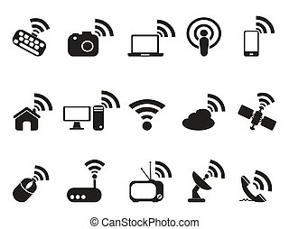 black wireless technology icons set - isolated black...