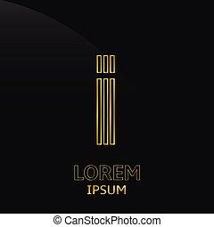 Letter I - Vector golden alphabet. Letter I, symbol for your...