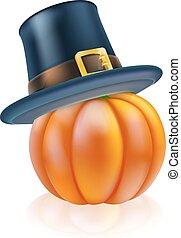 Thanksgiving pumpkin with pilgrim hat - A thanksgiving...