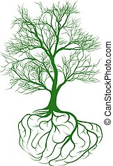 Tree with brain roots - A tree growing from rooots shaped...