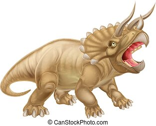 Triceratops Dinosaur Illustration - A triceratops three...