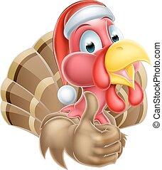Cartoon Christmas Turkey - Cartoon Christmas turkey mascot...