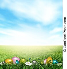 Easter Background With Color Eggs, Grass, Flowers,...