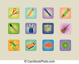 A set of different colourfull icon - Colourfull icons of...