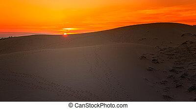 Sunset in White Sand Dunes, Mui Ne, Vietnam