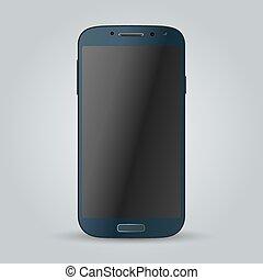 Realistic blue mobile phone Illustration image - Realistic...