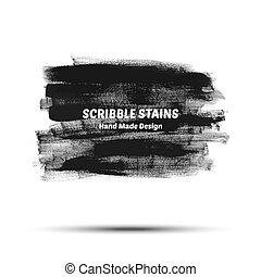 Scribble stains hand drawn in brush. Vector logo elements.