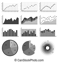 灰色, 集合, 圖表, 圖表, 圖, 顏色,  infographics, 矢量, 說明, 元素