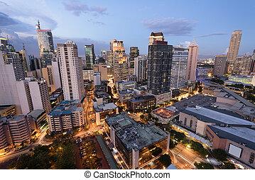 Makati skyline (Manila - Philippines) - Eleveted, night view...