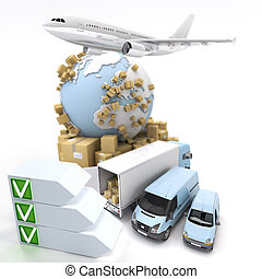 Transport checklist - 3D rendering of an international...