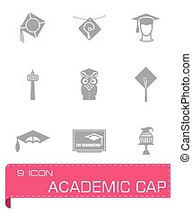 Vector Academic cap icon set
