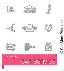 Vector Car sevice icon set on grey background