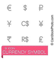 Vector Currency symbol icon set on grey background