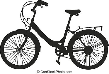 The black silhouette of a bicycle