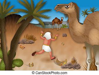 Moses Flees into the Desert - A cartoon biblical...