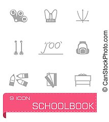 Vector Schoolbook icon set on grey background